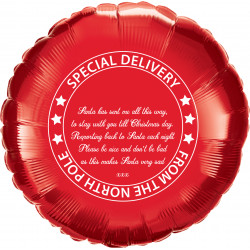"* PERSONALISED CHRISTMAS ELF RED ROUND 18"" FLAT"