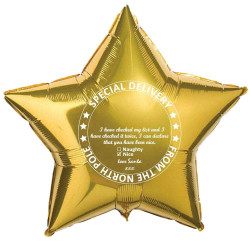"* PERSONALISED CHRISTMAS EVE GOLD STAR 18"" FLAT"