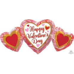 "MARBLE HEART TRIO HAPPY VALENTINE'S DAY SHAPE P30 PKT (34"" x 16"")"