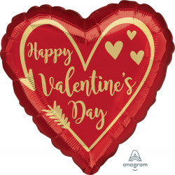 "ARROW HEART HAPPY VALENTINE'S DAY JUMBO P32 PKT (28"" x 28"")"