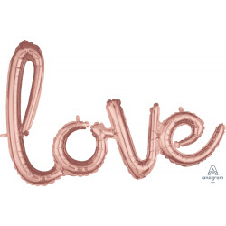 "LOVE SCRIPT ROSE GOLD PHRASE SHAPE G40 PKT (31"" x 21"")"