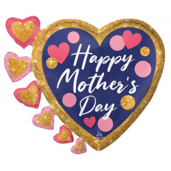 """PINK & NAVY GLITTER DOTS HAPPY MOTHER'S DAY SHAPE P35 PKT (24"""" X 20"""")"""