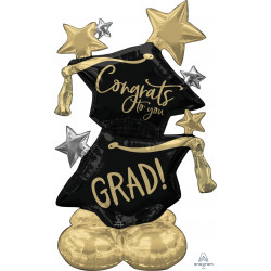 "CONGRATS TO YOU GRAD BLACK & GOLD P70 AIRLOONZ PKT (__"" X __"")"