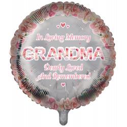 "IN LOVING MEMORY GRANDMA PINK REMEMBRANCE 18"" ROUND PKT"