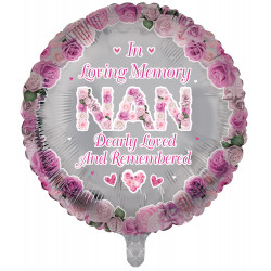 """IN LOVING MEMORY NAN PINK REMEMBRANCE 18"""" ROUND PKT"""