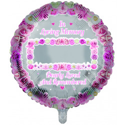 "IN LOVING MEMORY BLANK PINK REMEMBRANCE 18"" ROUND PKT"