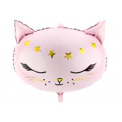 CAT HEAD PINK SHAPE 48cm x 36cm PKT