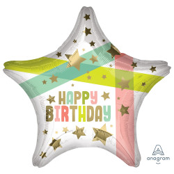 GOLD STARS & COLOURS HAPPY BIRTHDAY STANDARD S40 PKT