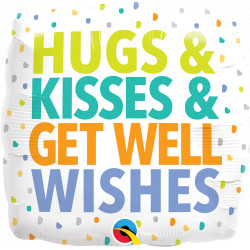 "HUGS KISSES GET WELL WISHES 18"" PKT IM"