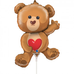 "BEAR WITH HEART 14"" MINI SHAPE FLAT"