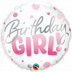 "BIRTHDAY GIRL PINK DOTS 18"" PKT IF"