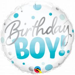 "BIRTHDAY BOY BLUE DOTS 18"" PKT IF"