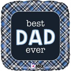 "BEST DAD EVER PLAID GRABO 18"" PKT"