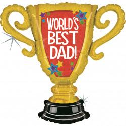 "WORLD'S BEST DAD TROPHY 33"" GRABO SHAPE G HOLOGRAPHIC PKT"
