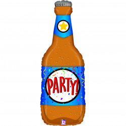 "PARTY BEER BOTTLE 34"" GRABO CLEAR SHAPE ? PKT"
