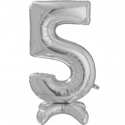 "SILVER NUMBER 5 STANDUP SHAPE 25"" PKT"