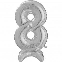 "SILVER NUMBER 8 STANDUP SHAPE 25"" PKT"