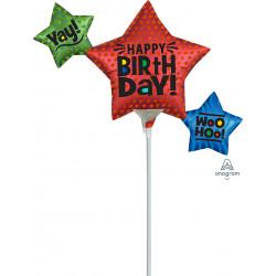 SATIN INFUSED STAR TRIO BIRTHDAY MINI SHAPE A30 FLAT