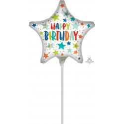 STARS AND DOTS HAPPY BIRTHDAY MINI SHAPE A15 FLAT