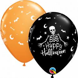 "HAPPY HALLOWEEN SKELETON 11"" ASSORTED ONYX BLACK & ORANGE (25CT) YGX"
