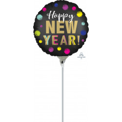 """DOTTED SATIN HAPPY NEW YEAR 9"""" A15 FLAT"""