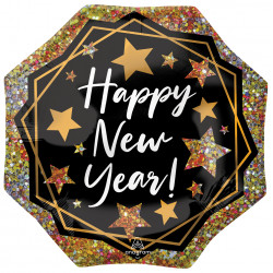 """GOLD SPARKLE HAPPY NEW YEAR SHAPE P32 PKT (22"""" x 22"""")"""