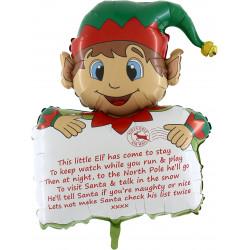 "* CHRISTMAS ELF HOLDING PERSONALISED LETTER 38"" SHAPE PKT"